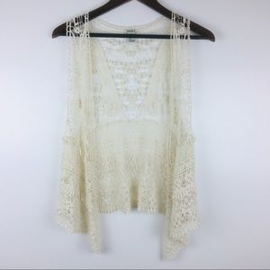 Forever 21 Open Knit Lacey Sleeveless Cardigan